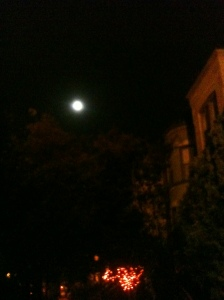 Moon above R St. NW, D.C